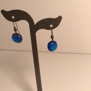 Jewelry - Blue Sea Glass Earrings